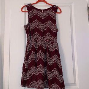 XXL Xhilaration Burgundy and White Dress